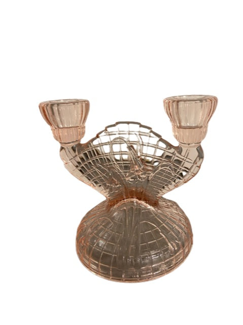 1970S ART DECO GLASS DOUBLE CANDLESTICK HOLDER