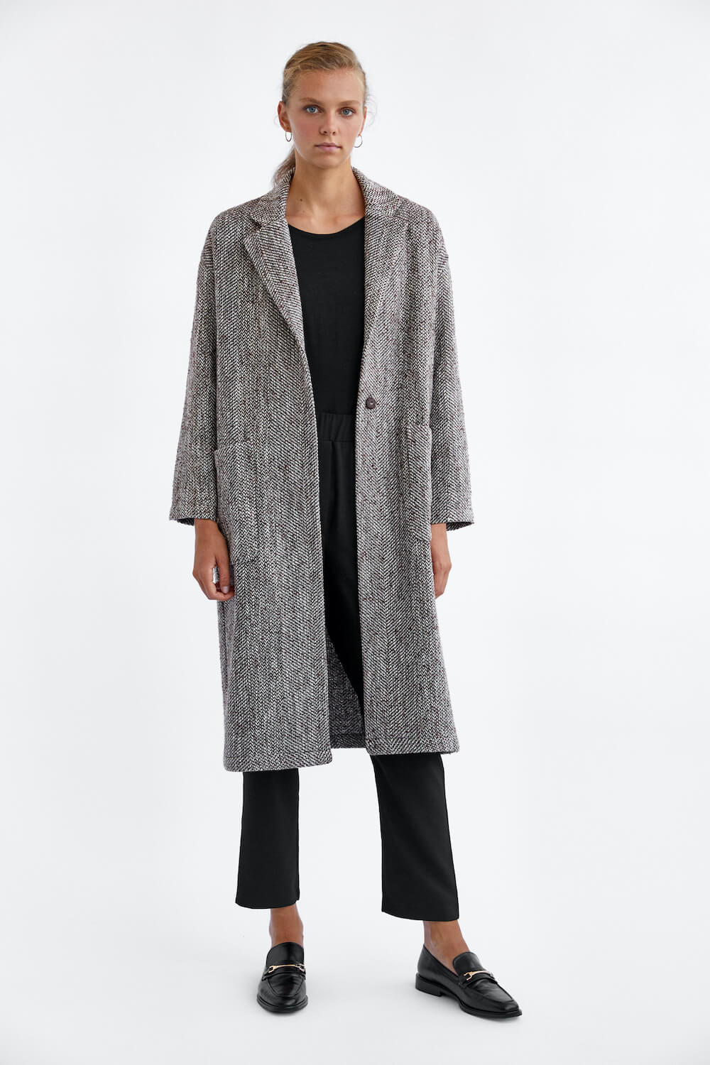 OVERSIZED HERRINGBONE COAT