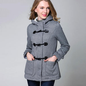 Winter Hooded Horn Button Coat