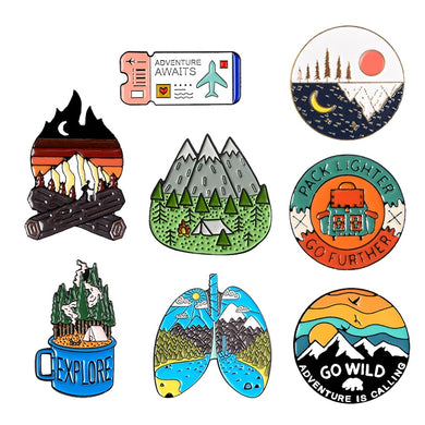 Outdoor Lifestyle Themed Enamel Pins