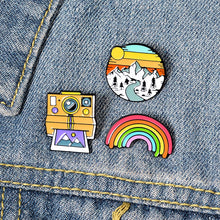 Load image into Gallery viewer, Rainbow, Mountain, and Camera Enamel Pin Set