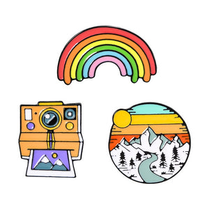 Rainbow, Mountain, and Camera Enamel Pin Set