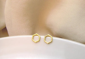 Elegant Hexagon Honeycomb Earrings