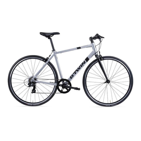 B'TWIN - Adult Flat Bar Road Bike - Triban 100 - Light Grey/Carbon Grey