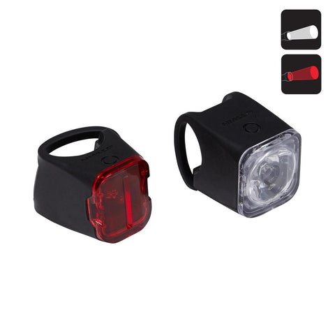 B'TWIN - LED USB Rechargeable Front & Rear Bike Light Set