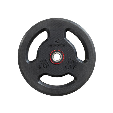 DOMYOS - Rubber Weight Disc With Handles (28mm-15Kg)