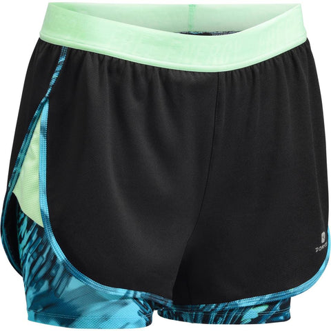 DOMYOS - 520 Women's 2-in-1 Cardio Shorts - Black and Blue Print