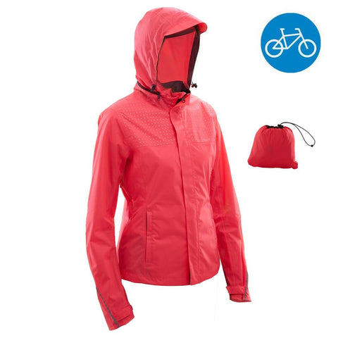 B'TWIN - 100 Women's Waterproof Cycling Jacket