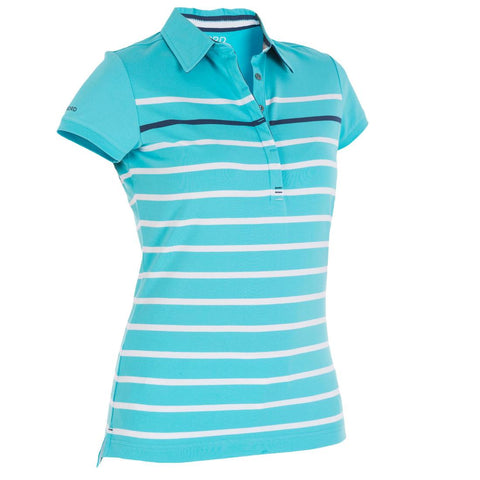TRIBORD - Women's Striped Boat Polo - Blue/White