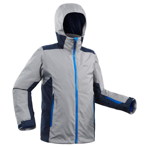 CHILDREN'S SKI JACKET 500 - GREY AND BLUE