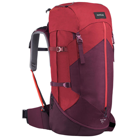 Women's Mountain Trekking Backpack | TREK 100 Easyfit 50L Red