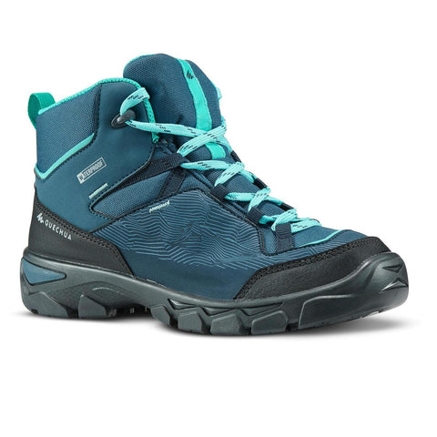 Kids Waterproof High Top Hiking Shoes MH120 35 TO 38 - Turquoise
