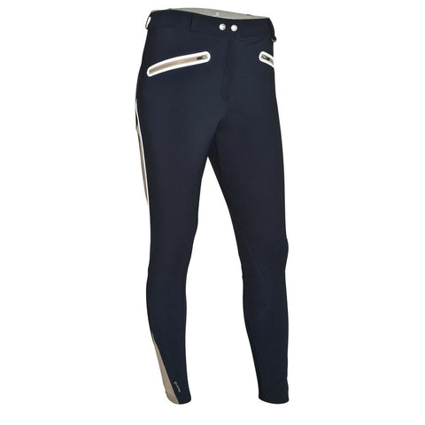 FOUGANZA - Training Mesh Women's Horse Riding Jodhpurs - Navy/Beige