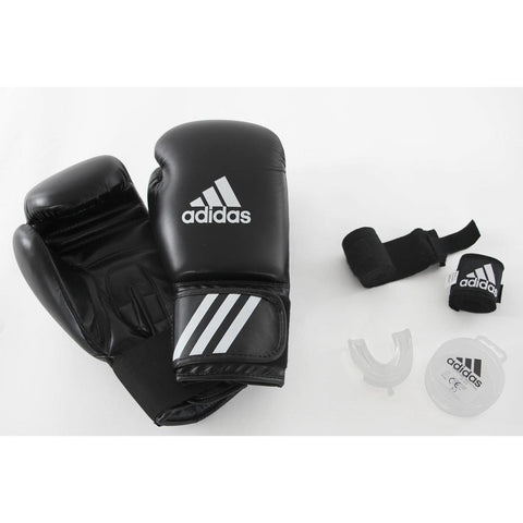 Adidas Beginners' Boxing Kit: Gloves, Wraps, Mouthguard