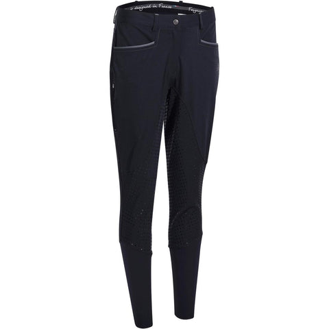 FOUGANZA - Training Light Women's Horse Riding Jodhpurs With Silicone Patches - Navy Blue