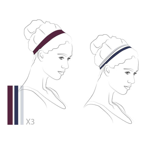 KALENJI - ELASTIC HEADBAND (TRI-PACK) WOMEN - BLACK, PLUM AND BLUE