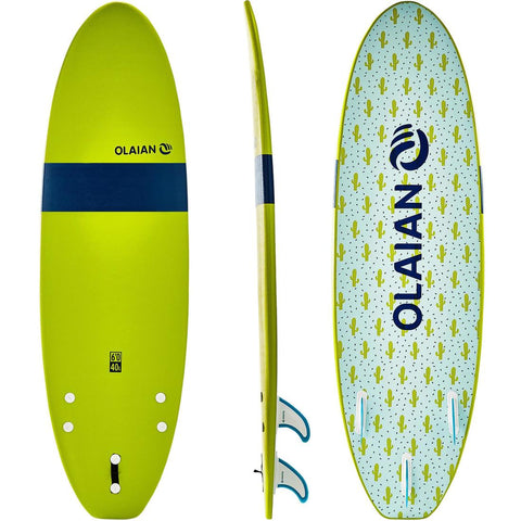 OLAIAN - 100 Foam Surfboard 6' With 3 Fins + Leash