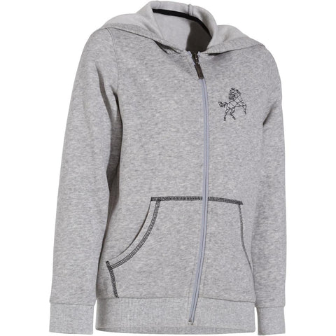 Horse Children's' Horse Riding Sweatshirt - Mottled Grey,