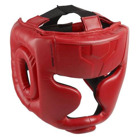 OUTSHOCK - Kids' Full Face Boxing Headguard 500 - Red