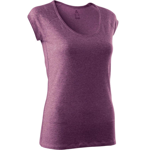 DOMYOS - 500 Women's Slim-Fit Gym & Pilates T-Shirt