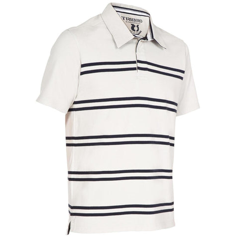 TRIBORD - Kostalde men's striped polo shirt sun protection factor 40+ - beige dark blue