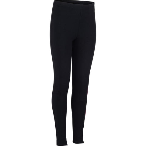 DOMYOS - 100 Girls' Warm Gym Leggings - Black