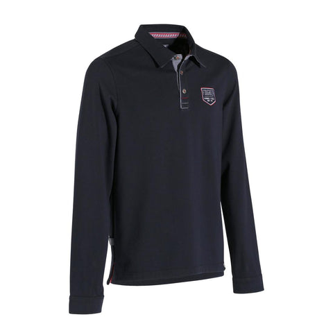 Blason Long-Sleeved Horse Riding Polo - Navy,