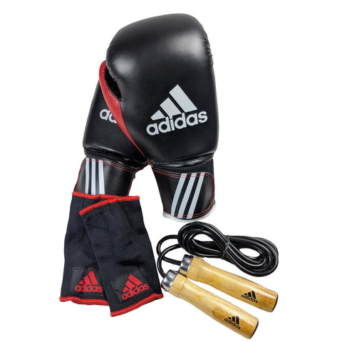 ADIDAS 12oz Boxing Kit Training Gloves, Skipping Rope & Inner Glove