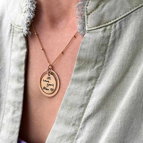 14K Gold Filled Handwritten Disc Necklace