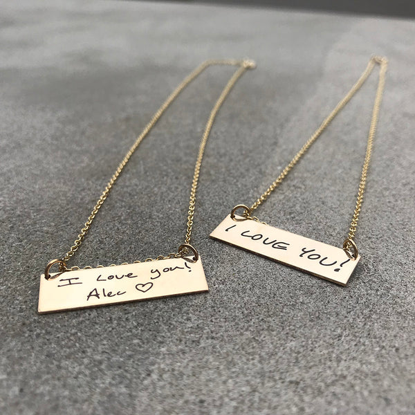 14K Gold Filled Handwritten Bar Necklace