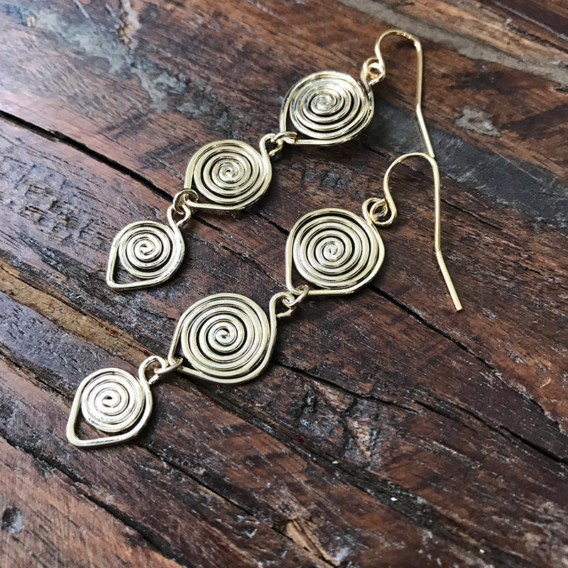 14k Gold Filled Triple Spiral Earrings - Quick Ship