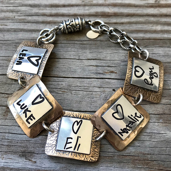 2-tone Sterling and Gold Handwritten Notes Bracelet