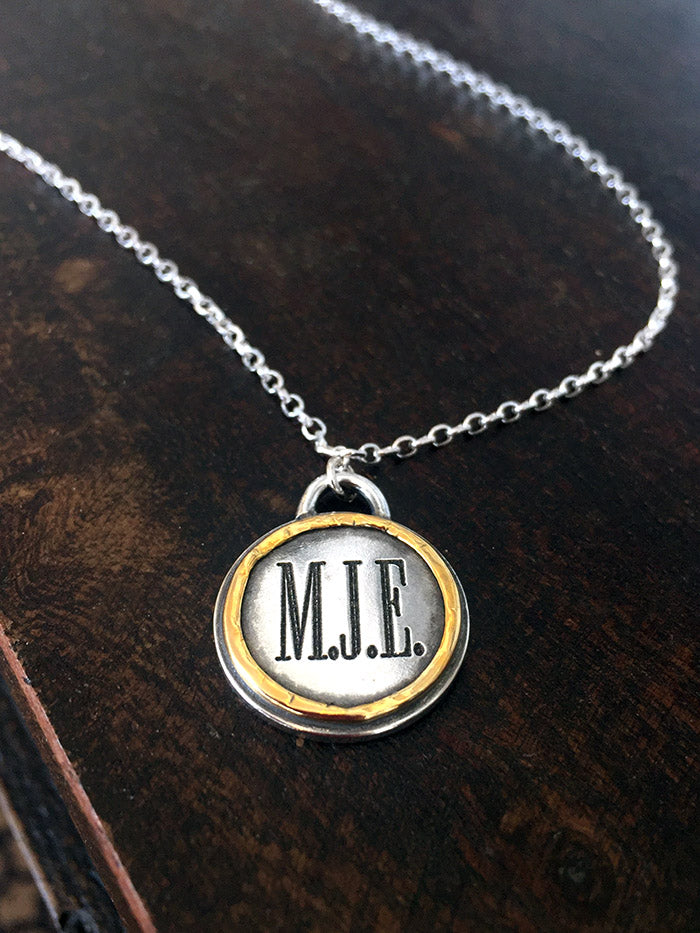 22k Gold and Silver Initial Pendant Necklace