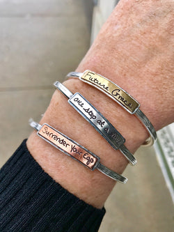 2-tone Stackable Handwritten Messages Thin Cuff