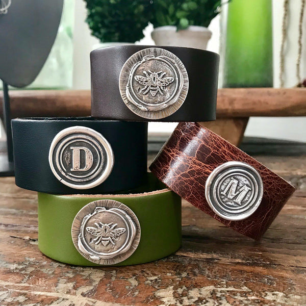Leather and Sterling Silver Wax Stamp Cuff