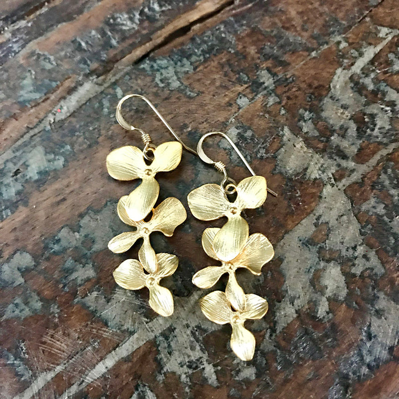 Cascading 14k Gold Filled Orchid Earrings - Quick Ship