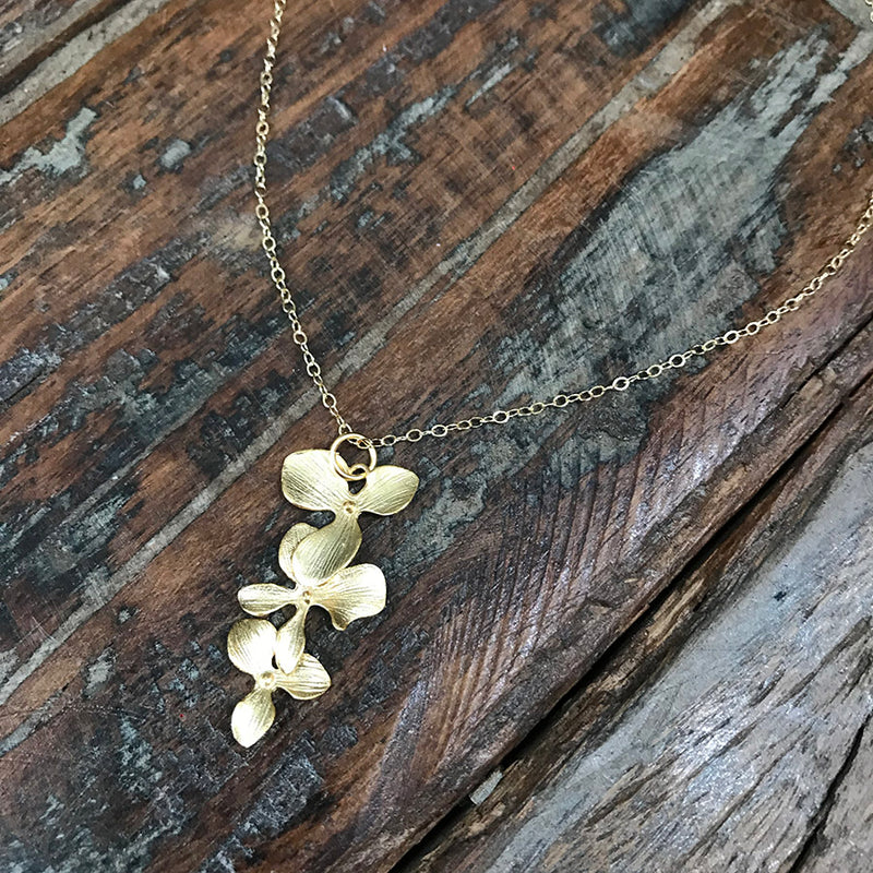 Cascading 14k Gold Filled Orchid Necklace - Quick Ship