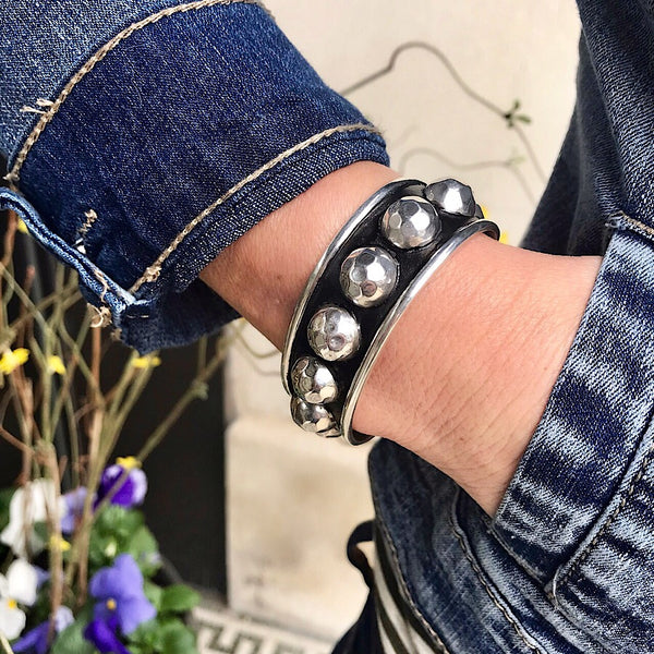 Large Sterling Beaded Cuff - Quick Ship