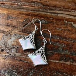 Sterling Silver and Mother of Pearl Earrings- Quick Ship