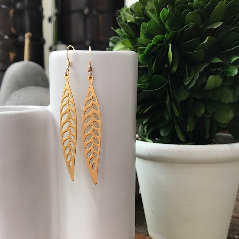 14k Gold Filled Leaf Earrings - Quick Ship
