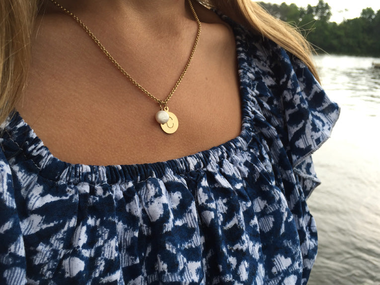 14k Gold Initial Necklace - Quick Ship