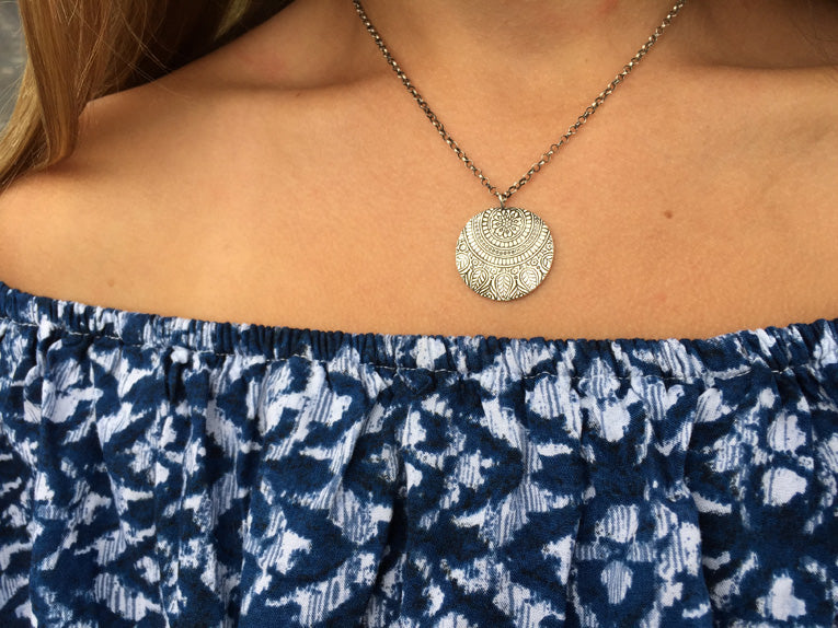 Paisley Disc Necklace