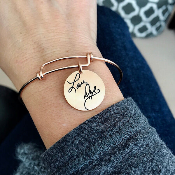 Rose Gold Filled Handwritten Expandable Bracelet with Charm