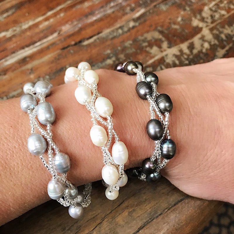 Freshwater Pearl Braided Bracelet - Quick Ship