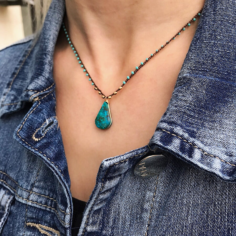 Hand Woven Linen Turquoise Gemstone Necklace – Quick Ship