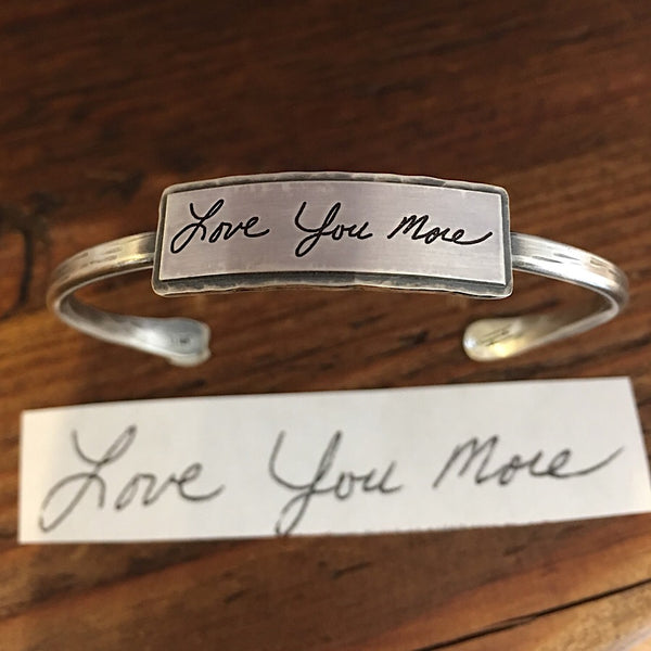 Sterling Handwritten Messages Thin Cuff