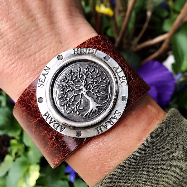 Tree of Life Silver Wax Stamp Cuff