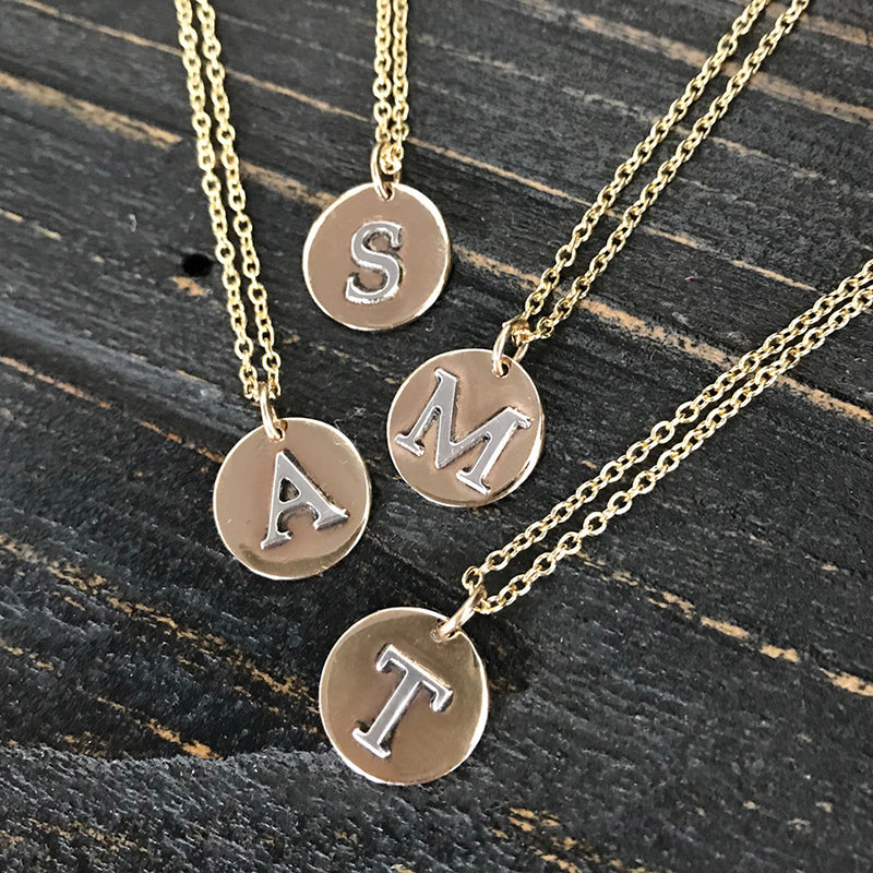 Silver and Gold Initial Charm Necklace