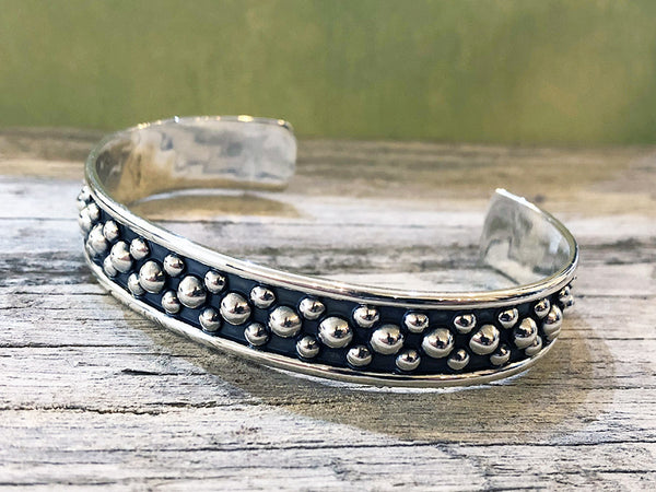 Sterling Silver Multi Beaded Cuff Bracelet - Quick Ship