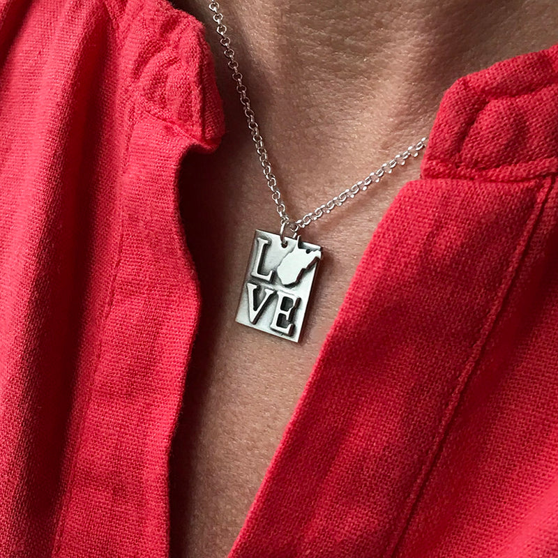 State Your Love Necklace Square - Sterling Silver